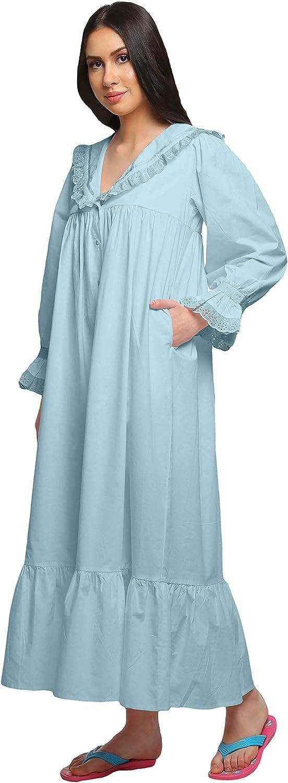 Moomaya Solid V-Neck Sleepwear Cotton Ruffled Border Women/'s Maxi Nightdress