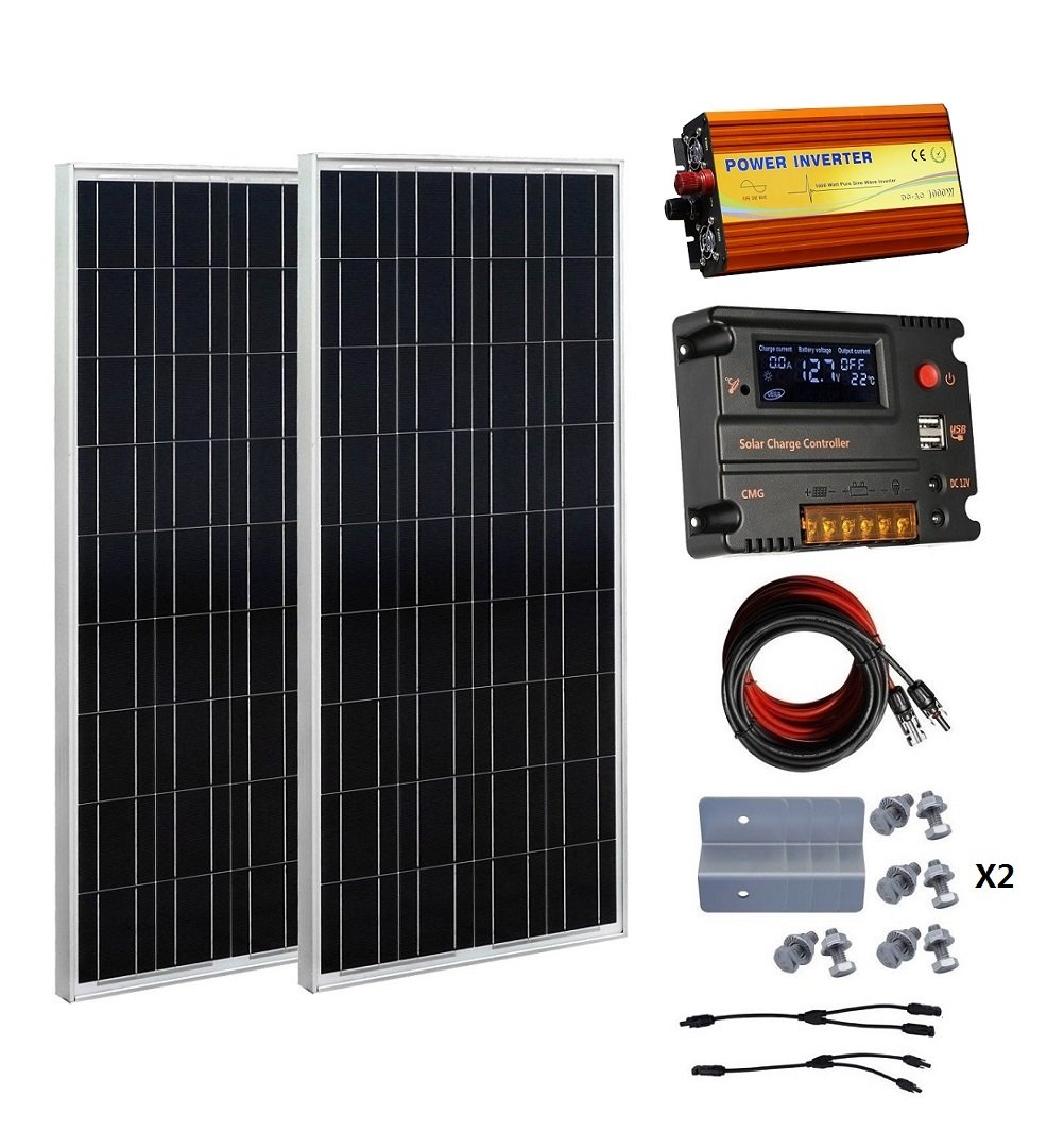 ECO-WORTHY 200 Watt 12V Solar Panels Kits: 2pcs 100W Polycrystalline Solar Panel + 20A Battery Regulator Charge Intelligent Controller + 1000W Pure Sine Wave Off Grid Inverter + Solar Cable