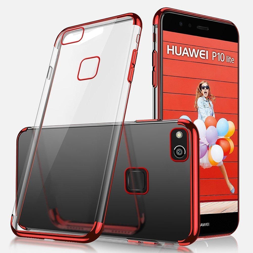 Coque pour Huawei P10 Lite,Coque Huawei P10 Lite Silicone, Uposao Souple Housse Huawei P10 Lite TPU Bumper Case Silicone Gel Transaparent + Métal Cadre Paillette Brillant Plaqué Coque Solide pour Huawei P10 Lite, Liquid Crystal Ultra Mince Pr
