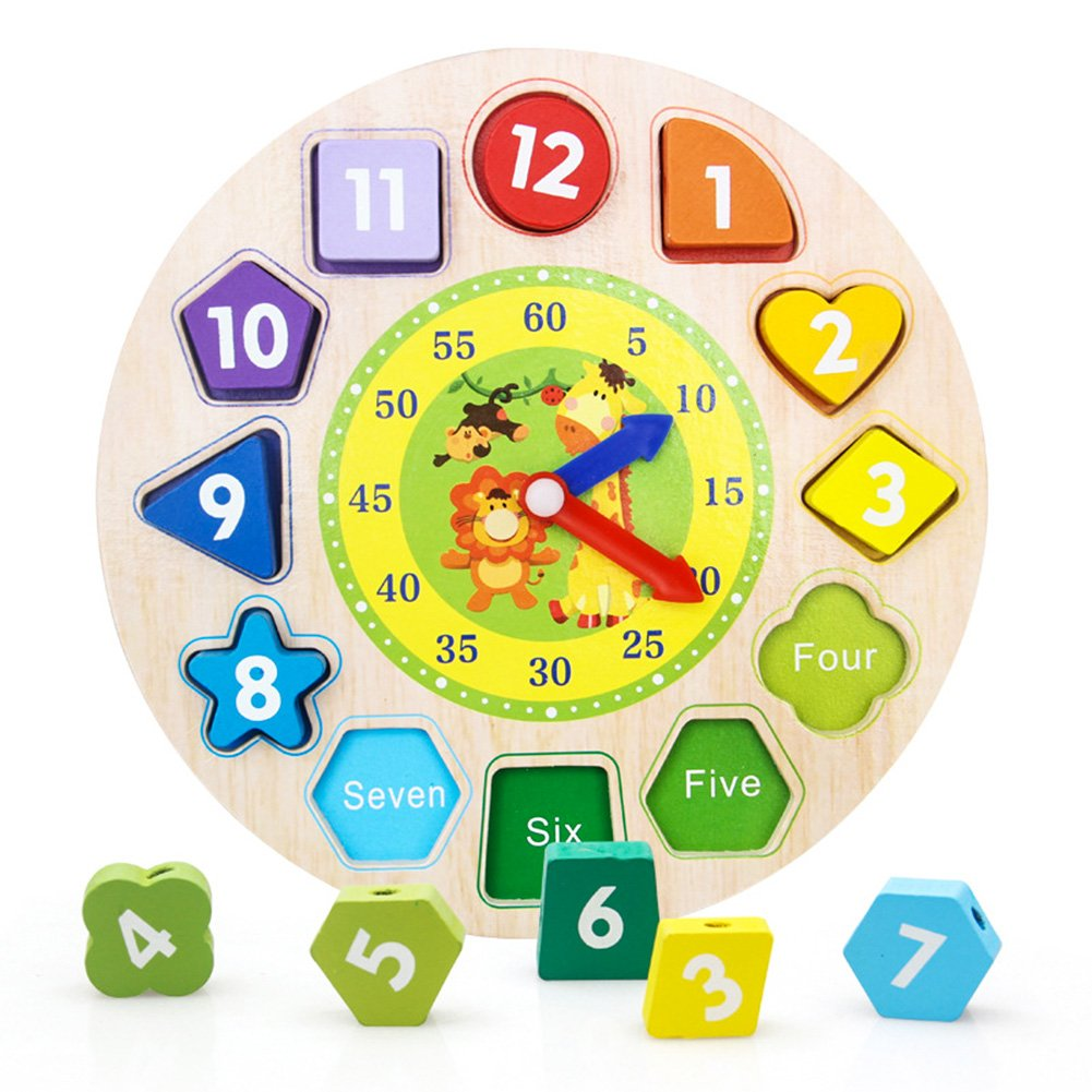Wooden Shape Sorting Clock Puzzle with Numbers & Shapes Teach Your Kid to Tell Time Through Fun & Play Educational Toy Teaching Clock for Kids Children 3 Years Old & Up