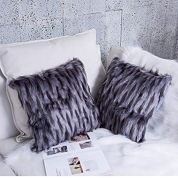 Amazon.com: Ojia - Juego de 2 fundas de almohada de piel ...