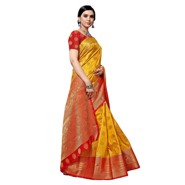 arars Womens kanchipuram kanjivaram pattu style art silk saree with blouse 283,
