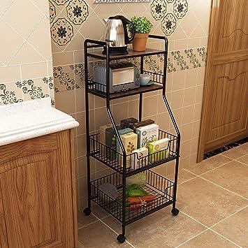 Shelf LYG Estante de Cocina Metálico Multiusos con Ruedas Cestos con de para Organizar Fruta Verduras Toallas en la Cocina (Color : A): Amazon.es: Hogar