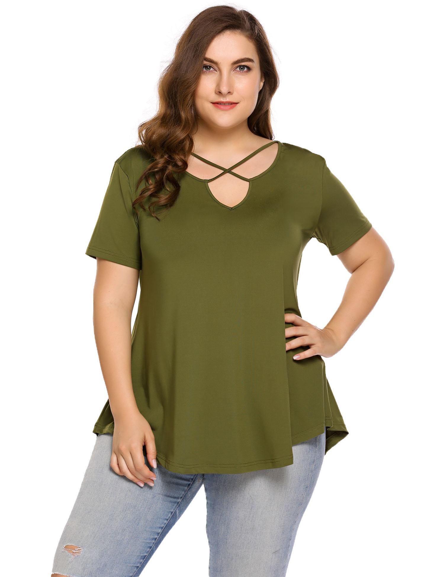 Loveje Women Plus Size Tunic Tops Short Sleeve Cross V Neck Casual T-Shirt Tops, Army Green, XX-Large