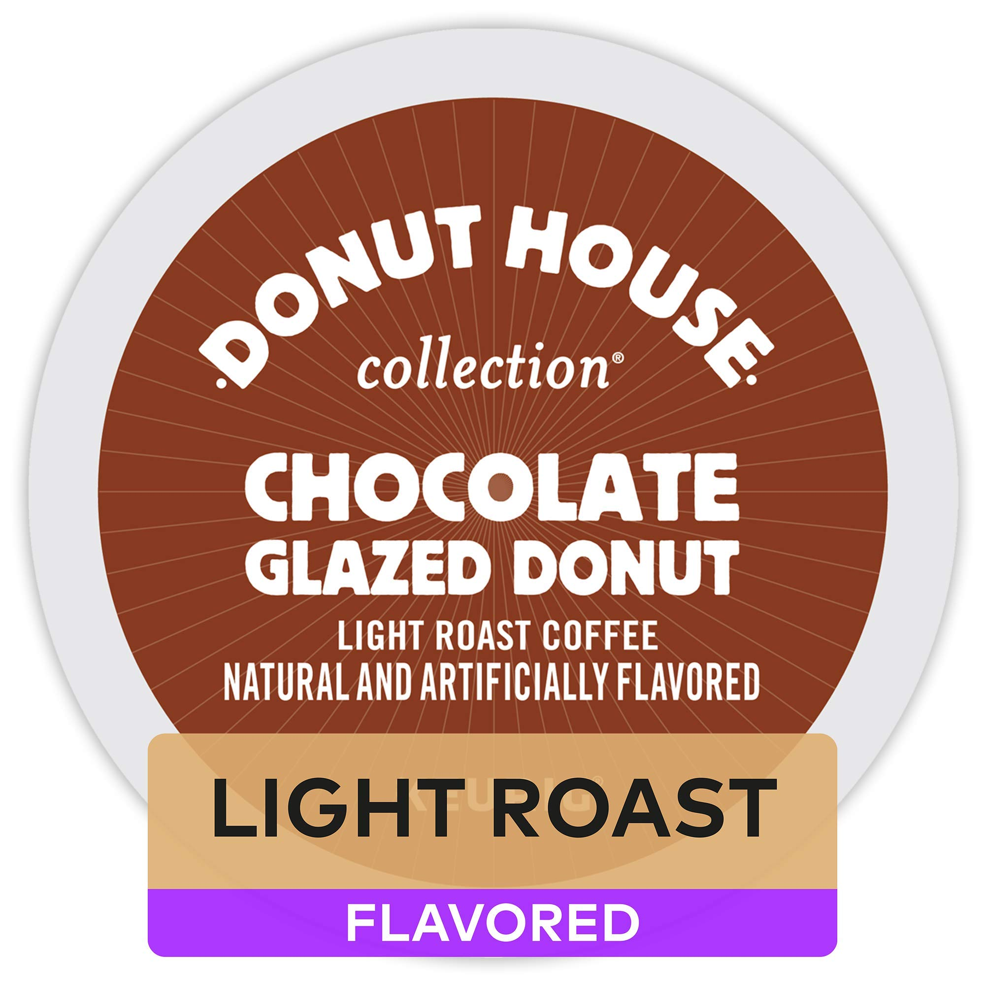 Donut House Collection Chocolate Glazed Donut, Single-Serve Keurig K Cup Pods, Light Roast Flavored Coffee, 96Count (4 Boxes of 24 Pods)
