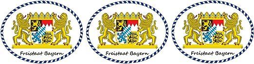 Etaia 3x Mini Premium Aufkleber 5x6 5 Cm Freistaat Bayern Löwen Wappen Mit Schriftzug Kleine Sticker Fürs Motorrad Fahrrad Auto Bike Auto