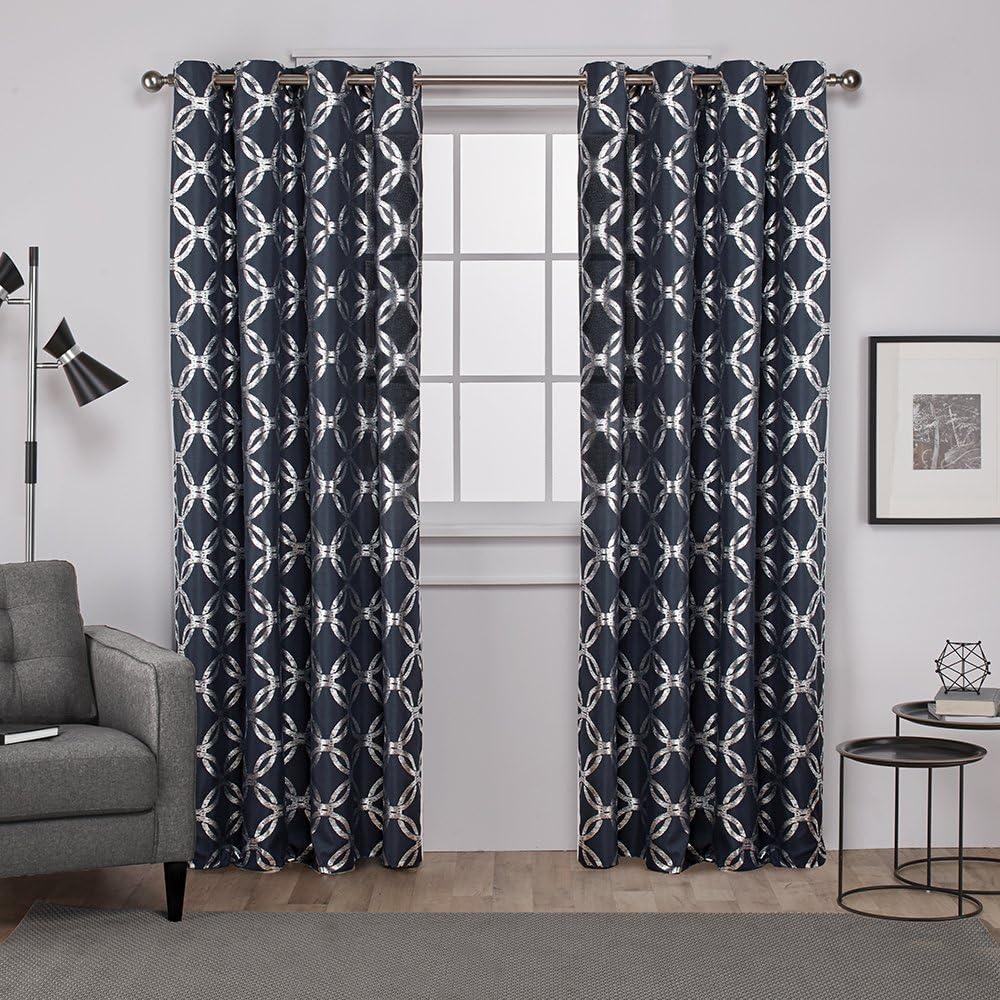 Exclusive Home Curtains Modo Metallic Geometric Window Curtain Panel Pair with Grommet Top, 54x108, Indigo, 2 Count