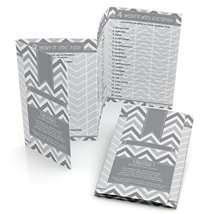 5 Games in 1 Chevron Gray Bridal Shower Games Pack Fabulous 5 Set of 12