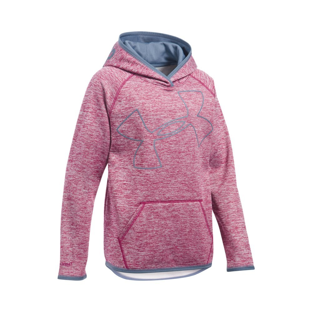 Under Armour Girls' Armour Fleece Novelty Jumbo Logo Hoodie, Black Cherry (702)/Aurora Purple, Youth Small