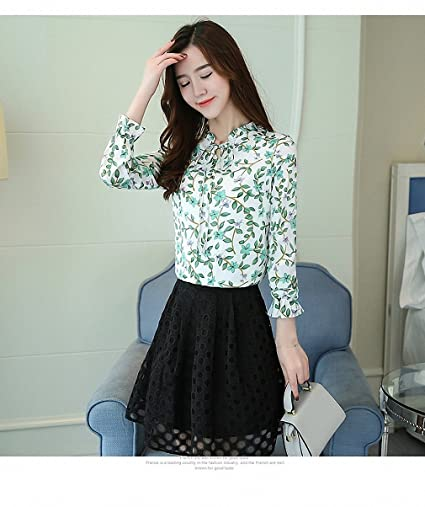Goexi Womens Blouse Chiffon Tops Long Sleeve and Shirts Flower Printed Office Work Blusas Feminine at Amazon Womens Clothing store: