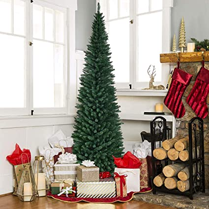 buy online 88d59 50386 Goplus Artificial Pencil Christmas Tree PVC Slim Tree w/Sturdy Metal Stand  for Indoor and Outdoor, Green (9 FT)
