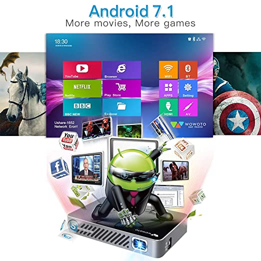 Mini proyector WOWOTO A5 100ANSI Android 7.1 Proyector de Video ...