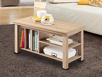 Mesa, mesita de centro 90x45 cm. con revistero para comedor o salón en  color roble