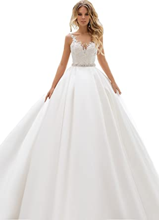 6b366e485f62 Women's V Neck Lace Appliques Ball Gown Wedding Dresses with Crystal Belt 2019  Bridal Gowns J84