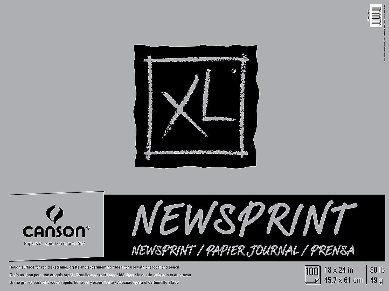 100 hojas, 45 x 61 cm Bloc de notas color blanco Canson 100510966 Biggie Newsprint