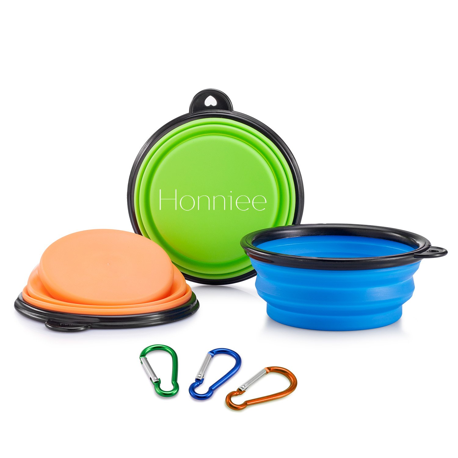 Honniee Collapsible Dog Bowl - Foldable Expandable Cup Dish for Food Water Feeding - BPA Free FDA Approved Silicone with Free Carabiner(3 Pack)