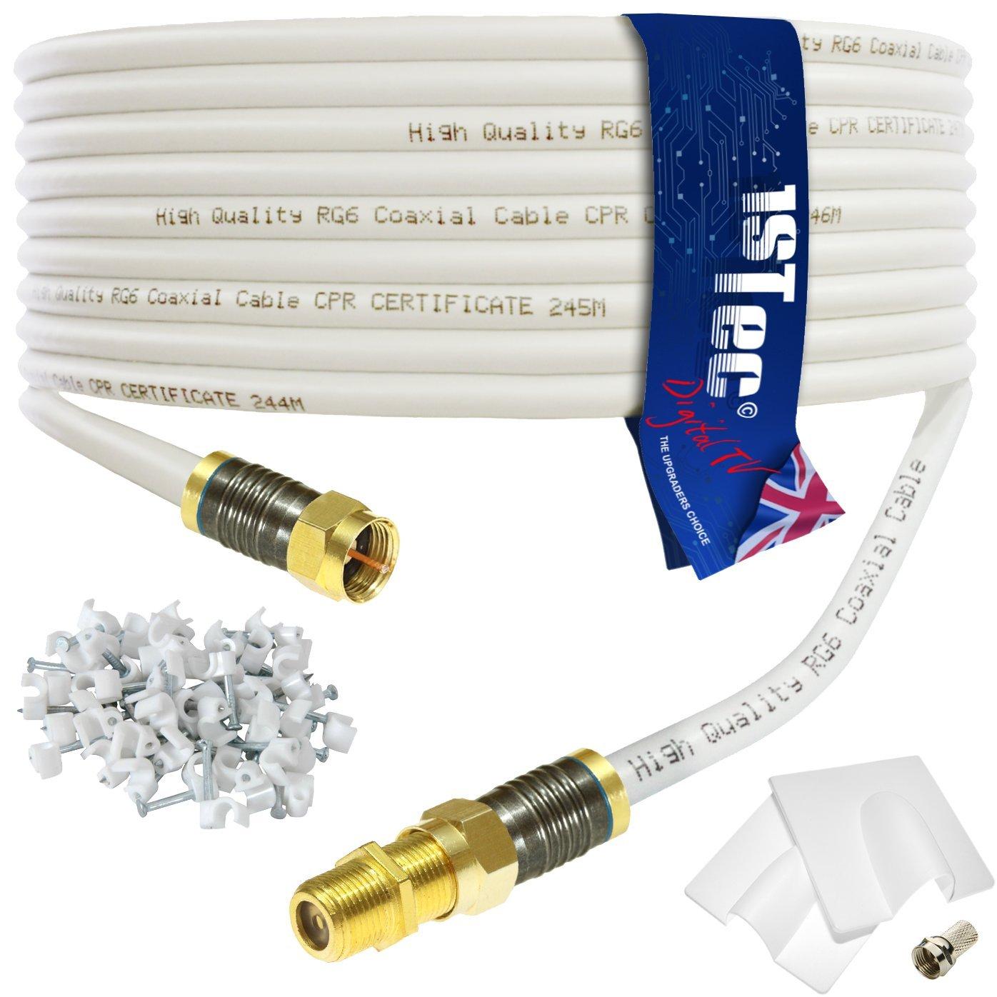 Cable de extensión para televisión Virgin o banda ancha digital de 1STec 30 Metre blanco: Amazon.es: Electrónica