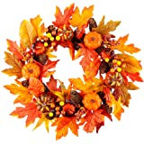 Meiliy Fall Wreath 21.5 inch Autumn Wreath for Front Door Thanksgiving Halloween Wreath Home Indoor Outside Decor