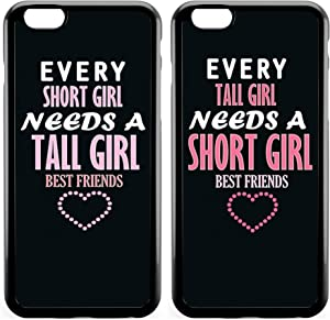 iPhone 7 Plus BFF Case,Cute Funny Best Friends Forever BFF Sister Cousins Couple Every Short Girl Needs A Tall Girl Sisters BFF Matching Pink Funny Love Forever Soft Black Case for iPhone 8 Plus