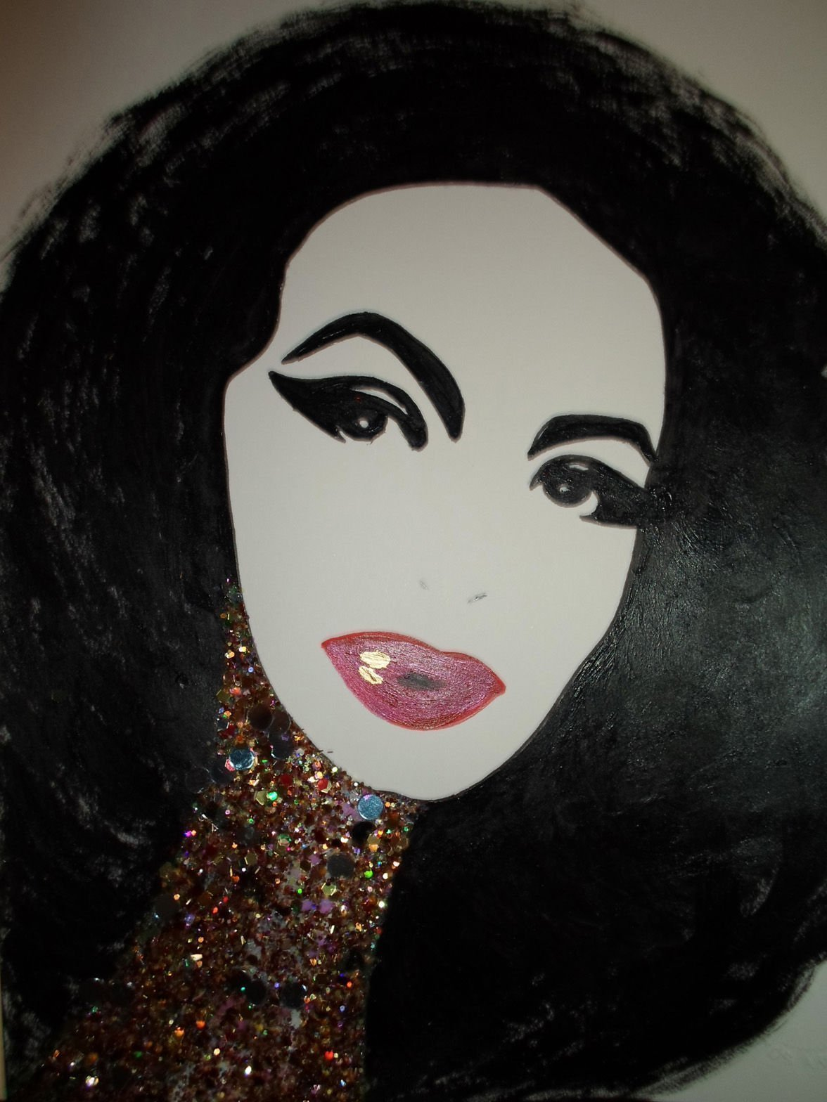 MARIA FELIX : MEXICAN GLAMOROUS DIVA! - Abstract - POP - MEXICAN FOLK ART Style :: ORIGINAL PAINTING - Acrylics and Ink - Modern Painting on Heavy White Paper - SIZE:11''x8.5'' - Signed by the Artist