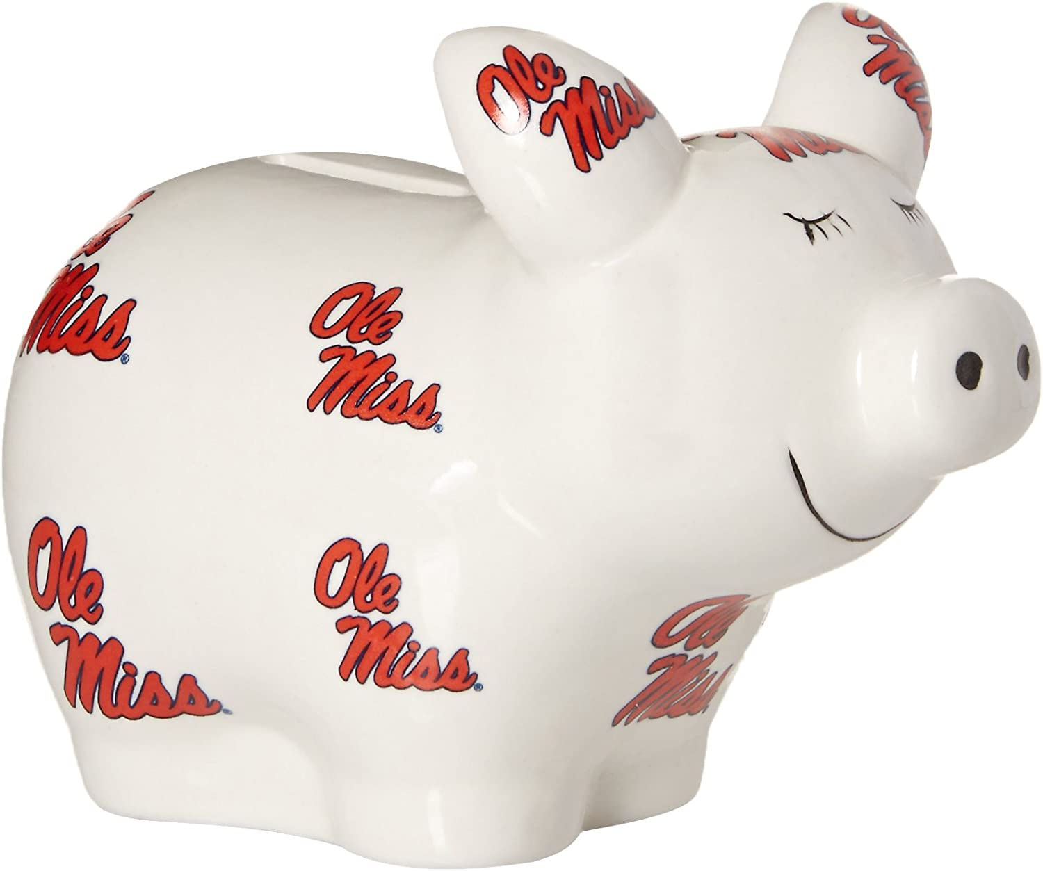 One Size Game Day Outfitters NCAA Ole Miss Rebels Logo All Over Piggy Bank Multicolor