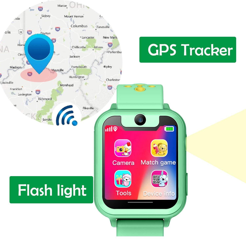 Smartwatch para Niños, Relojes Inteligentes para Niños y Niñas con GPS Tracker Sos antipérdida Alarma Podómetro Tarjeta SIM Ranura de la Cámara ...
