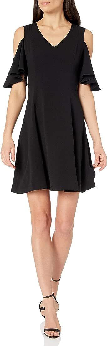 Amazon Brand - Lark & Ro Women's Short Sleeve Cold Shoulder A-Line Dress