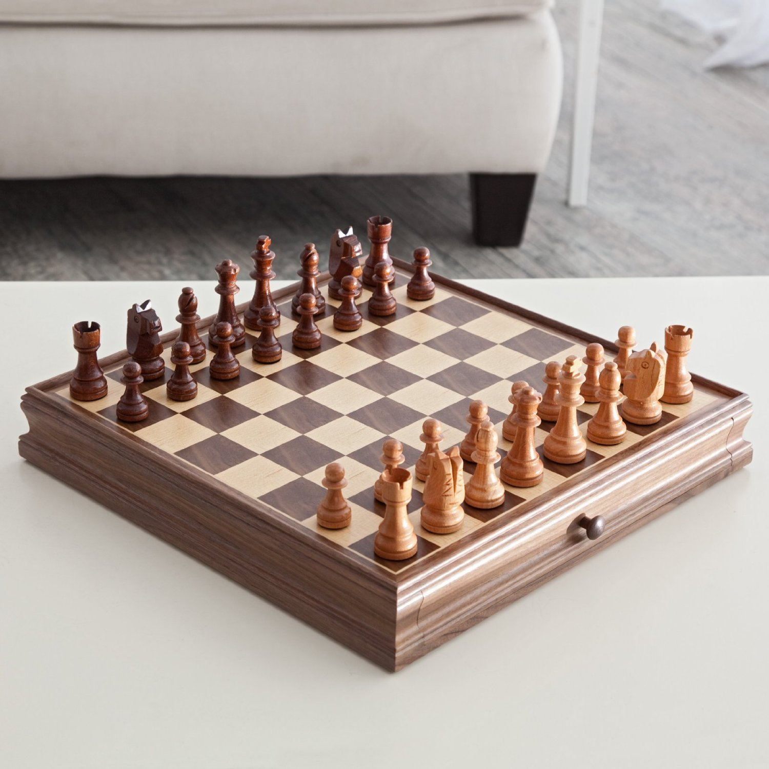 Deluxe Chess & Checker Game Gift Set with Bonus Storage Playing Board, Walnut
