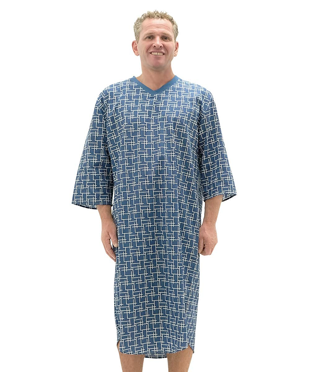 760df83753 Amazon.com  Silvert s Mens Adaptive Hospital Patient Nightgowns - Open Back  Cotton  Clothing