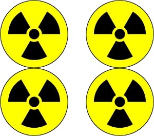 "Nuclear Radiation Warning Symbol Sign 4 Pack Hazard Radioactive Bumper Window Sticker 4"" Round Car Decal"