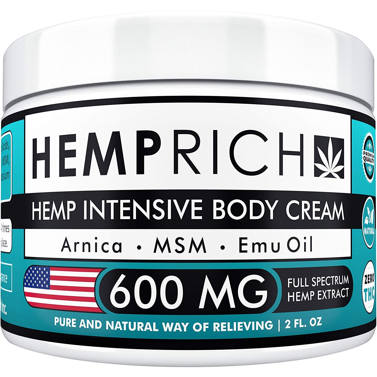 Hemp Cream for Pain Relief - 600 Mg - Contains Arnica, MSM & EMU Oil - Fast Acting Natural Hemp Extract Cream for Inflammation, Muscle, Joint, Knee, Neck, Arthritis & Back Pain - Made in USA - Non-GMO