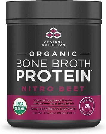 Ancient Nutrition Organic Bone Broth Protein Powder, Nitro Beet Flavor, 17 Servings Size - Organic, Gut-Friendly, Paleo-Friendly