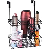 Alsonerbay Hair Dryer Holder Wall-Mounted/Door-Hanging Hair Tool Storage Caddy Bathroom Metal Basket for Hair Care…