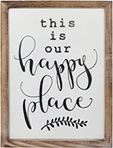 SANY DAYO HOME Wall Decor Signs with Inspirational Quotes 11 x 16 inches Rustic Wood Framed Modern Farmhouse Wall Hanging Art - This is Our Happy Place