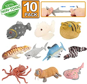 ValeforToy Ocean Sea Animal,10 Pack Rubber Bath Toy Set,Food Grade Material TPR Super Stretchy, Some Kinds Can Change Colour, Squishy Floating Bathtub Toy Figure Party,Realistic Shark Octopus Fish