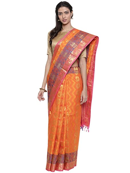 fcd90b8a89 Classicate From The House Of The Chennai Silks - Embellished Dharmavaram  Silk Saree - Mandarin Orange - (CCMYSS8945): Amazon.in: Clothing &  Accessories