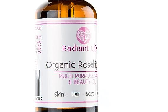 Aceite de Rosa Mosqueta Orgánico - 100% de Aceite Esencial Natural con una poderosa combinación de Provitamina A, Vitamina E, Vitamina C y Omega 3,6 y 9 ...
