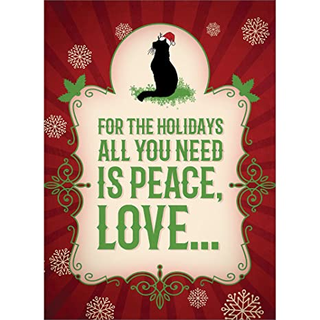 Tree,Free Greetings Christmas Cards and Envelopes, Holiday Card Set, 5 x 7  Inch Cards, Box Set of 10, More Cats Christmas, (HB93018)