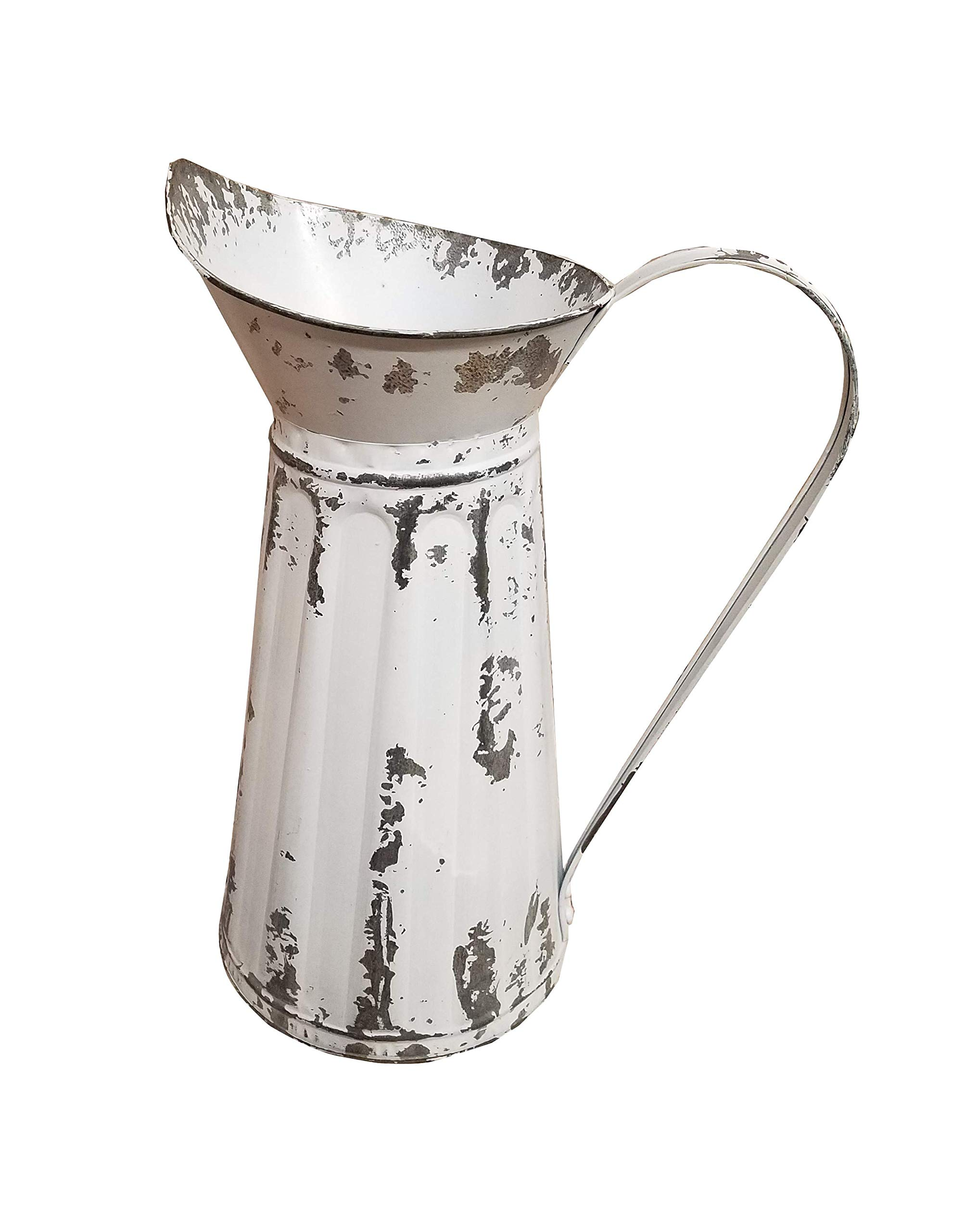AT Vintage White Chipped Metal 15 Inch Pitcher Home Patio Decor by AT