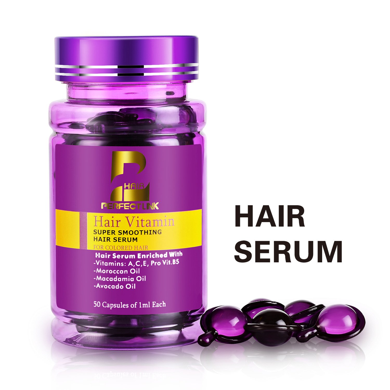 Hair Serum, Hair Treatment with Pure Moroccan Oil, Macadamia and Avocado Oils, Vit A, C, E, Pro Vit.B5, Perfect Link Hair Vitamins, 50 Capsules, Hair Serum for Color Treated Hair( Purple Capsules)