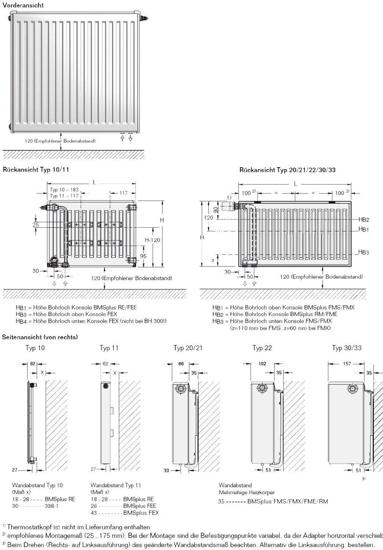 Buderus Ventil Kompakt Heizk/örper Profil VC-Profil Typ 21 H/öhe 400 mm L/änge 1200 mm mit Wandhalterung