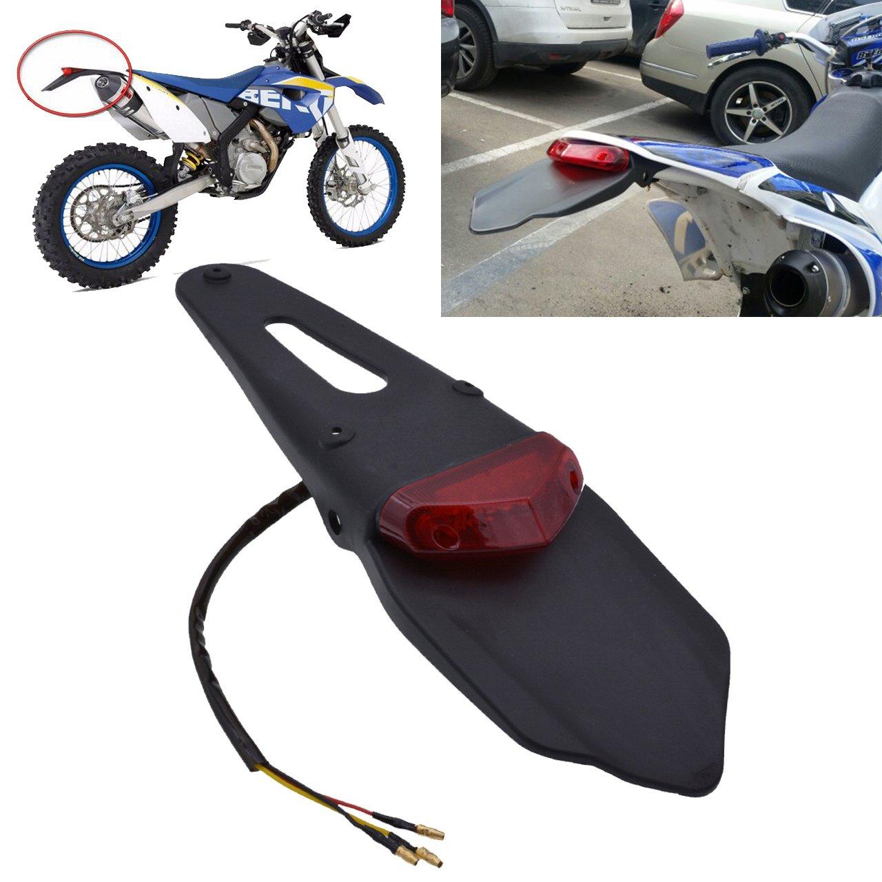 TUINCYN Parafango posteriore con LED per moto da cross, con fanale del freno posteriore, con staffa, nero, per la targa, con lente rossa (confezione da 1) BHBAZUALIn4947