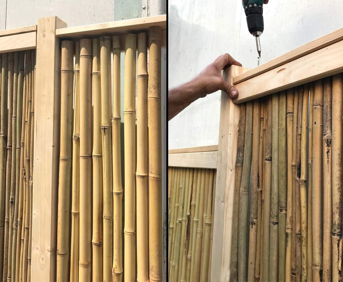 Bambus Zaun U Profil Set Oben Unten Mit 300x7x7 5cm Fur