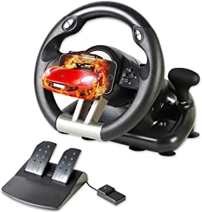 Serafim R1+ Volante de carreras - Volante para juegos con pedal sensible - Compatible con Xbox One, PS4, PS3, Switch, PC, iOS, Android - Volante Xbox One, Volante PS4, Volante PC Gaming