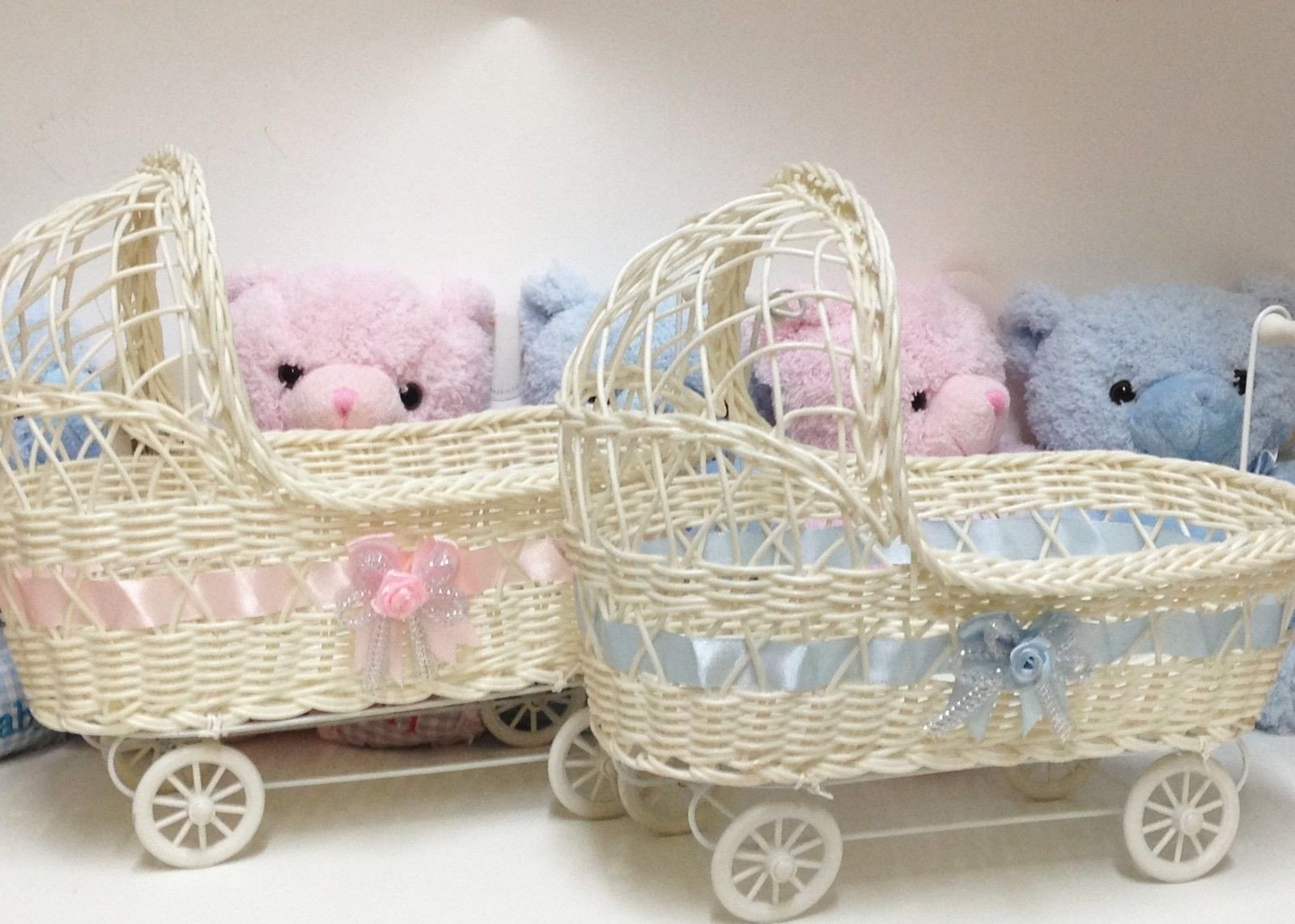 11 1/2'' Wicker Baby Girl Carriage - Baby Shower Centerpiece 12 Pieces