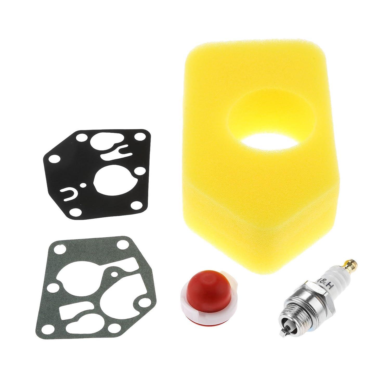 Mtsooning 2pcs Carb Diaphragm Gasket Air Filter Primer Bulb L7T Spark Plug for B&S 795083 698369 694394