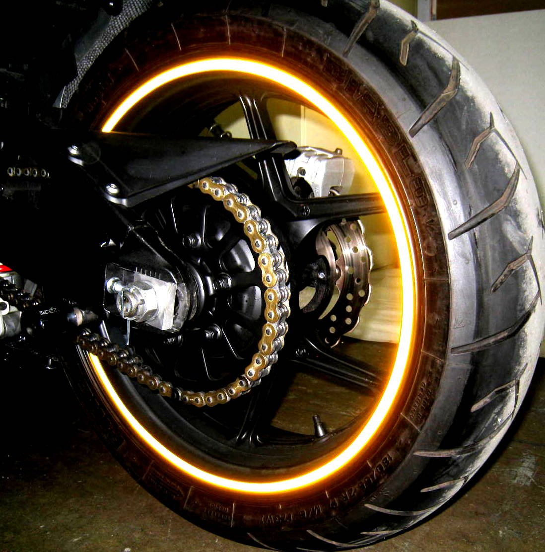 Golden Yellow Reflective Wheel Rim Stripe Decal Tape for Motorcycle Wheels 17 or Car Wheels 16-18