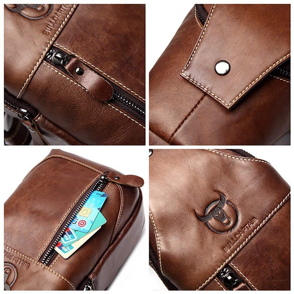 MUTANG Men Genuine Leather Chest Bag Shoulder Messenger Bag Sling Waist Bag Backpack Business Sport Hiking Travel Brown