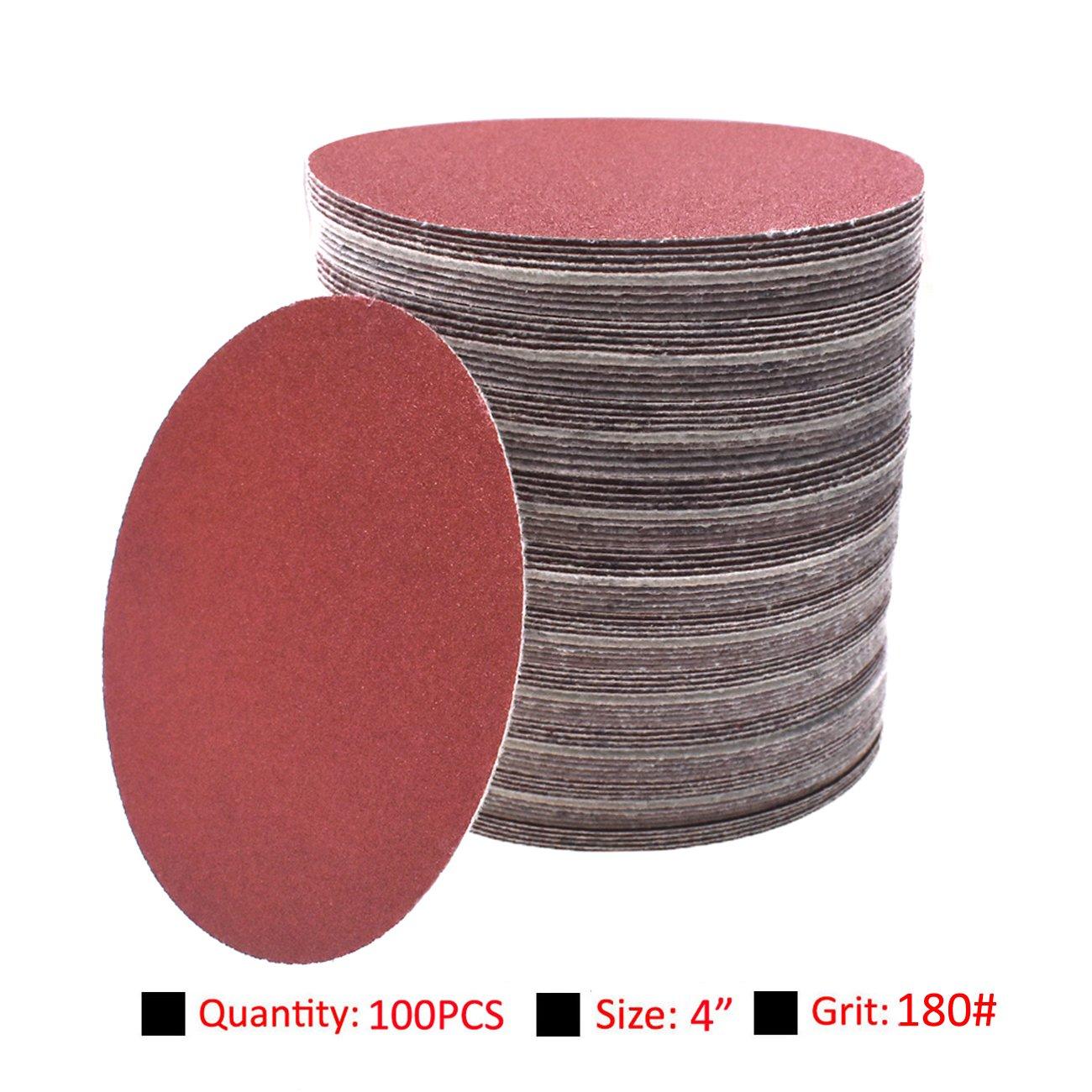 NAVARME 100pcs 100mm 4 Inch Sanding Disc 180 Grit Orbital Sander Pads Abrasive Sandpaper