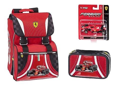 a385195df2 Ferrari Kit Zaino Estensibile + Astuccio completo 3 zip + modellino ferrari